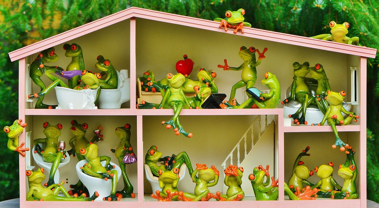 מודל דירה ובו בובות של צפרדע מתגוררות במשותף